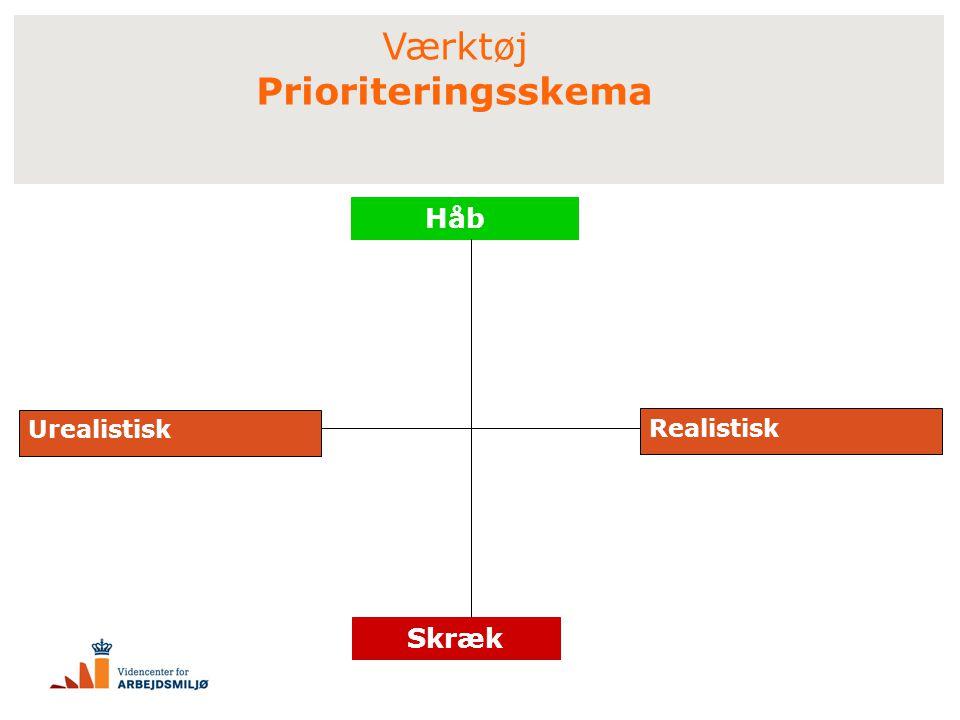 Værktøj Prioriteringsskema Håb Urealistisk Realistisk Skræk