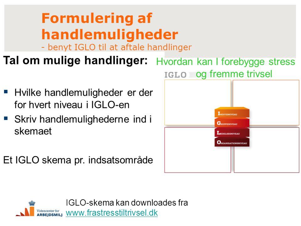 Formulering af handlemuligheder - benyt IGLO til at aftale handlinger