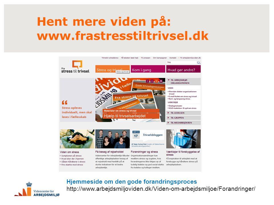 Hent mere viden på: www.frastresstiltrivsel.dk