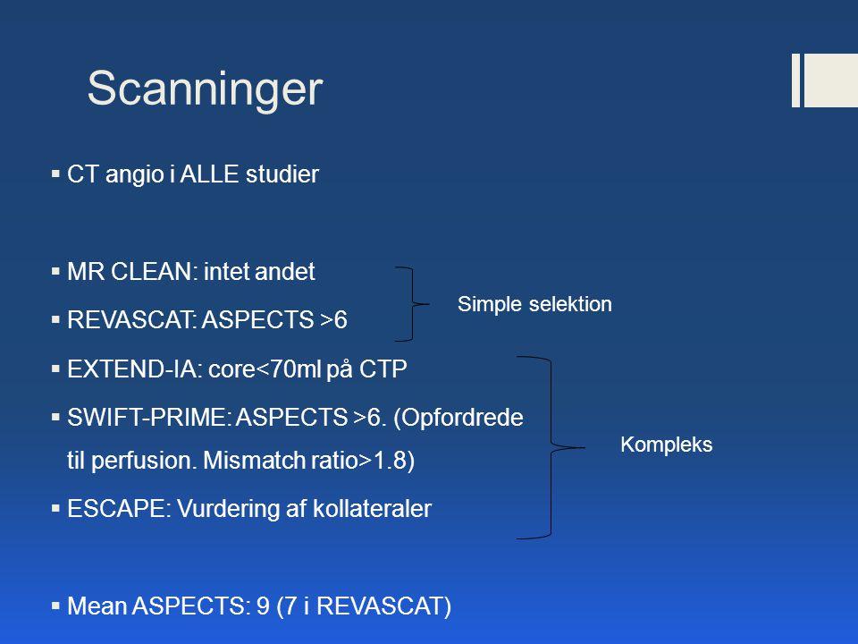 Scanninger CT angio i ALLE studier MR CLEAN: intet andet
