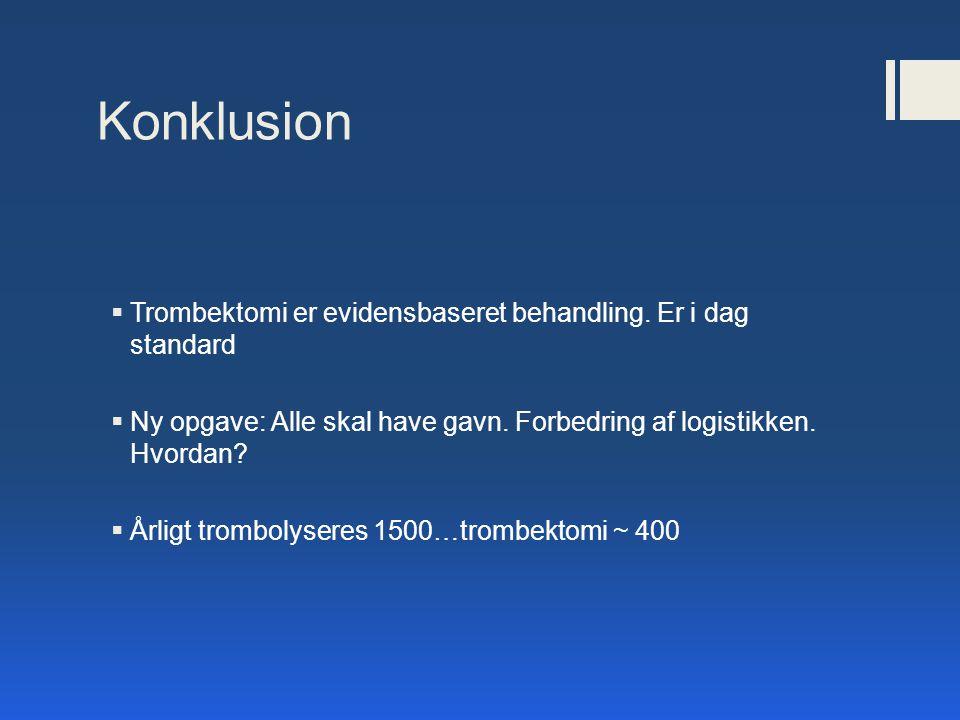 Konklusion Trombektomi er evidensbaseret behandling. Er i dag standard