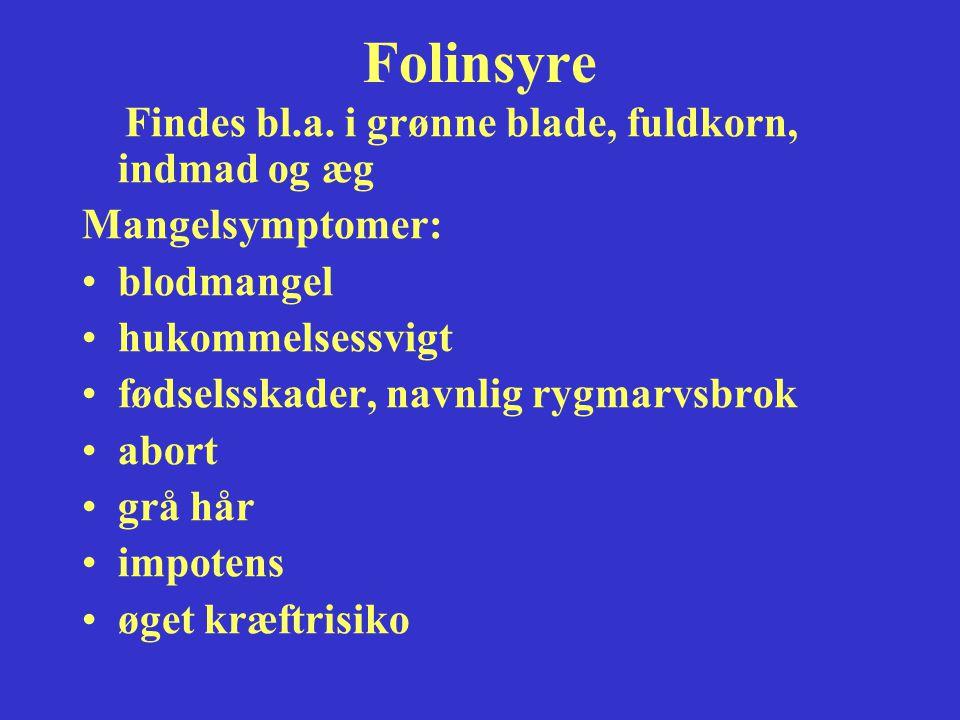 Folinsyre Findes bl.a. i grønne blade, fuldkorn, indmad og æg
