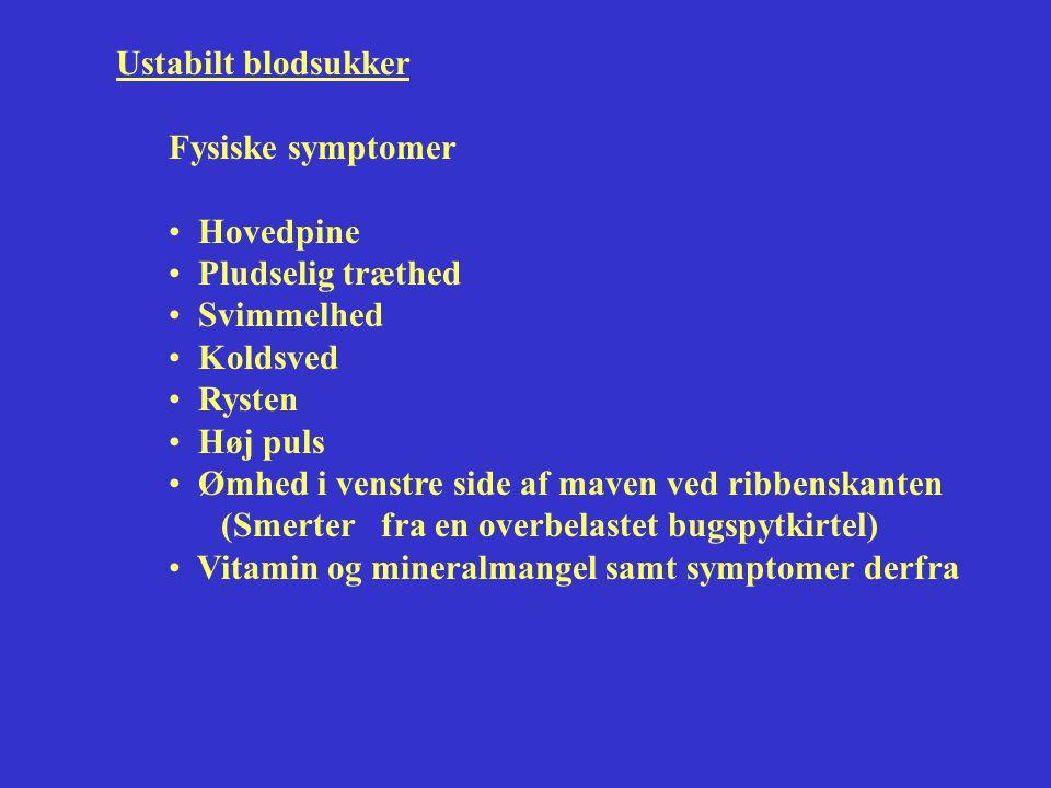 Ustabilt blodsukker Fysiske symptomer. Hovedpine. Pludselig træthed. Svimmelhed. Koldsved. Rysten.