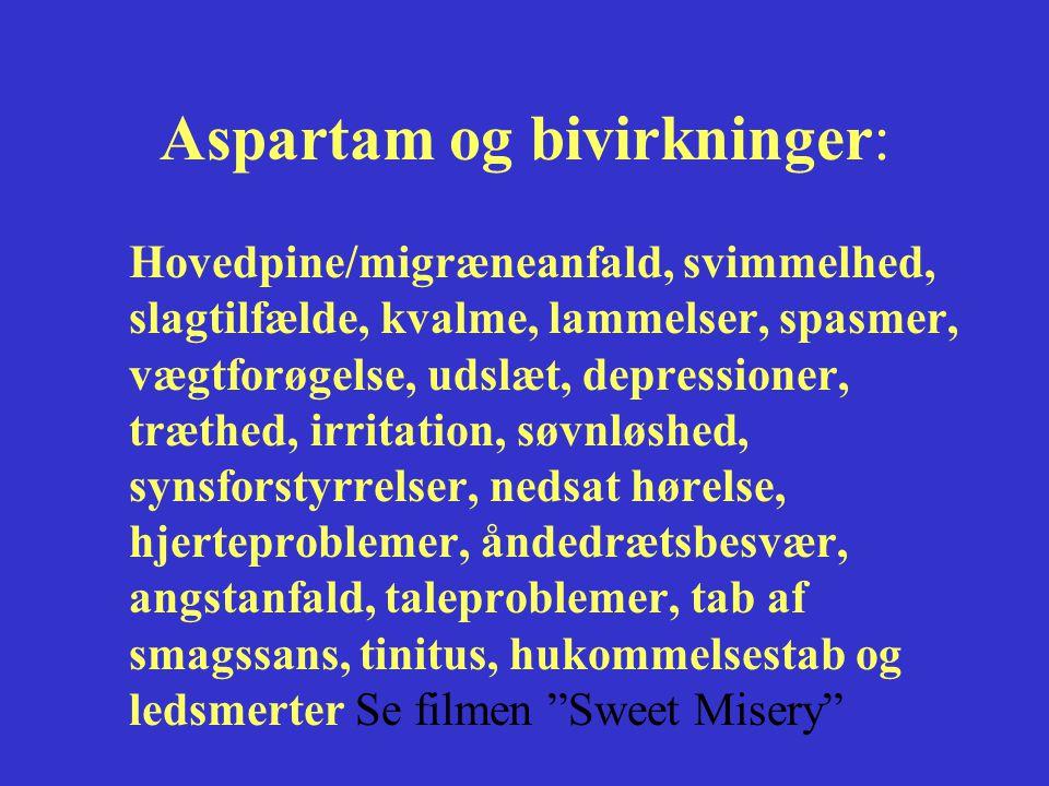 Aspartam og bivirkninger:
