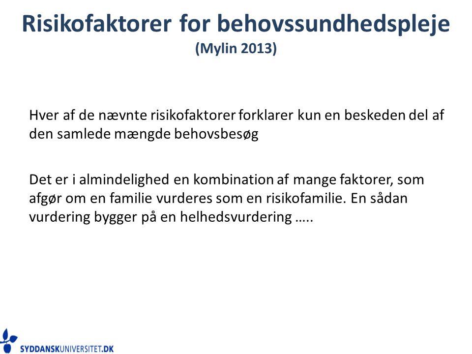 Risikofaktorer for behovssundhedspleje (Mylin 2013)