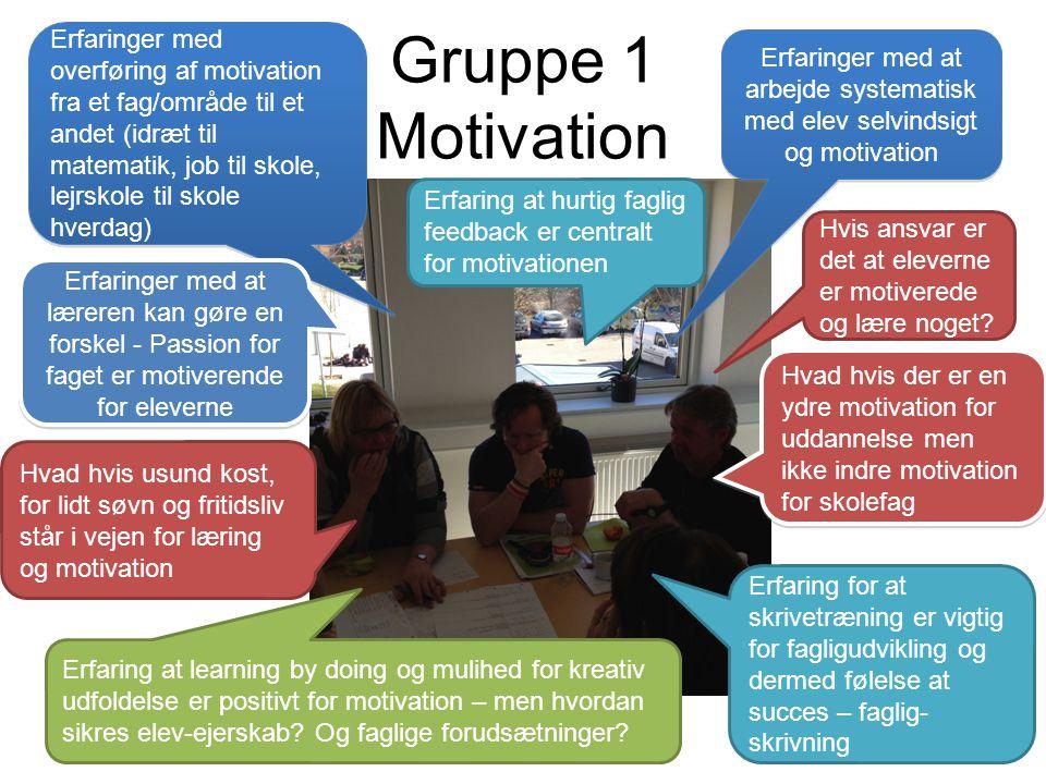 Erfaringer med overføring af motivation fra et fag/område til et andet (idræt til matematik, job til skole, lejrskole til skole hverdag)