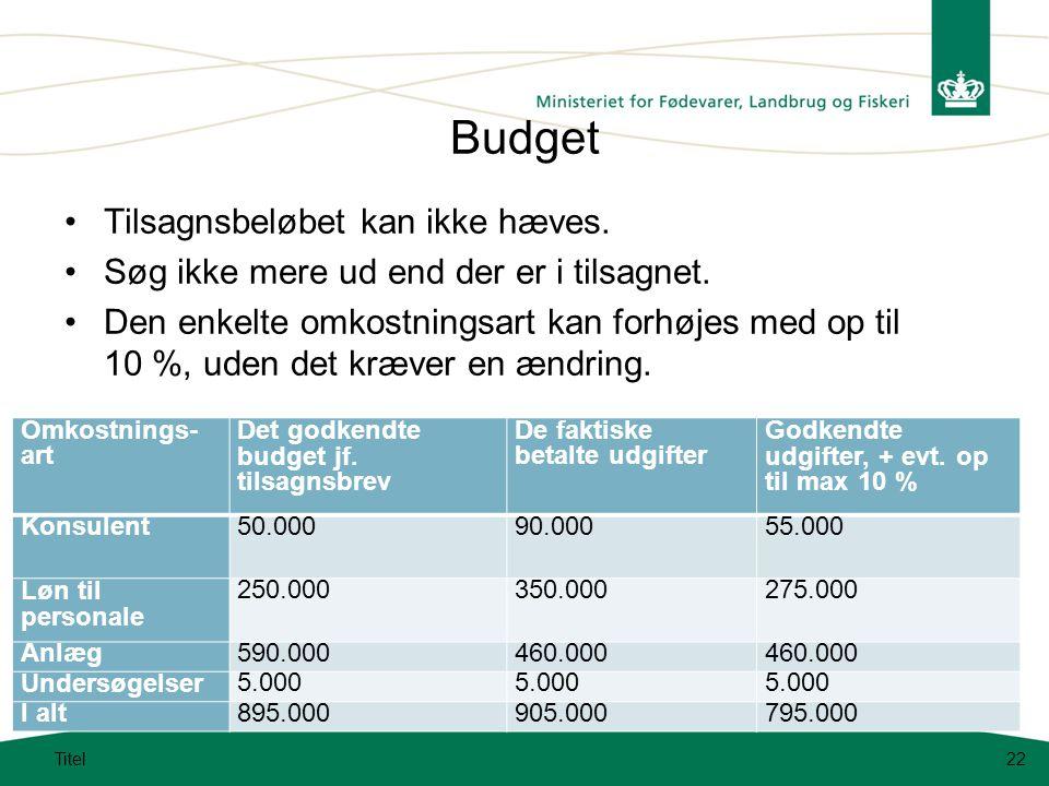 Budget Tilsagnsbeløbet kan ikke hæves.