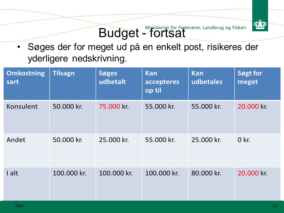 Budget - fortsat Søges der for meget ud på en enkelt post, risikeres der yderligere nedskrivning.