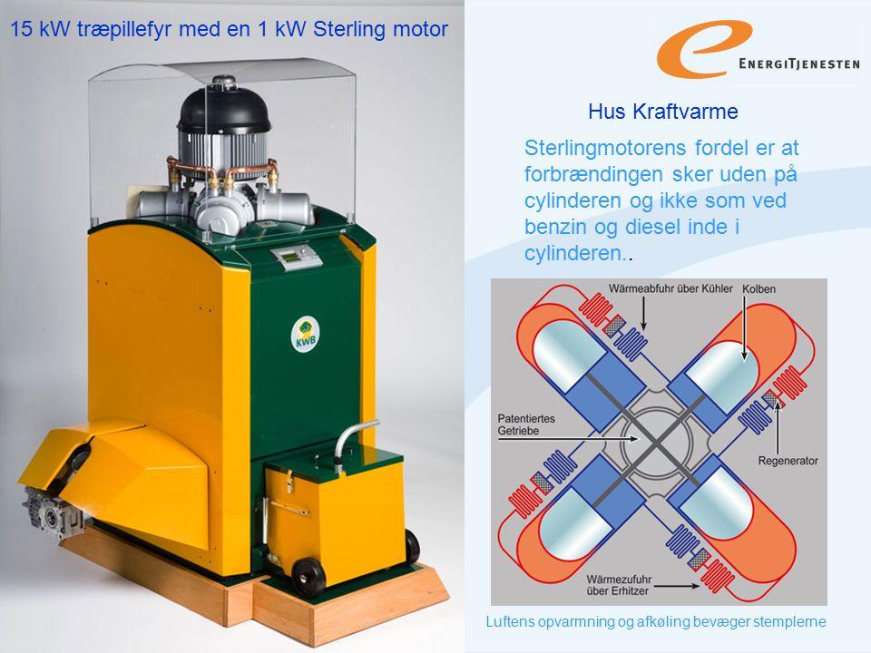15 kW træpillefyr med en 1 kW Sterling motor
