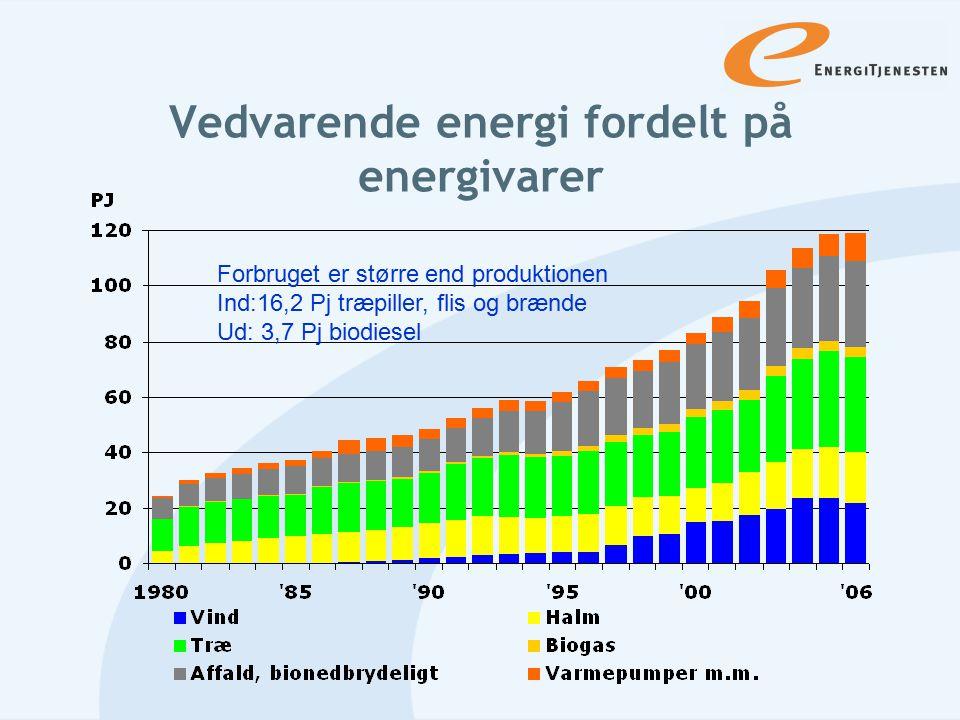 Vedvarende energi fordelt på energivarer