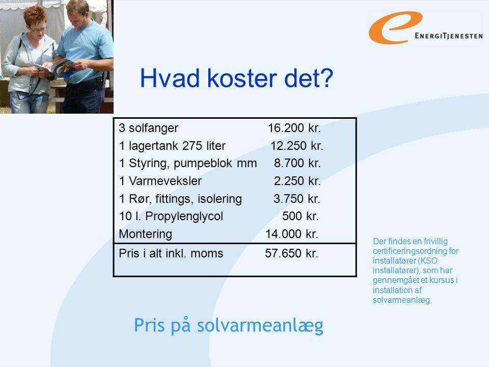 Hvad koster det Pris på solvarmeanlæg 3 solfanger 16.200 kr.
