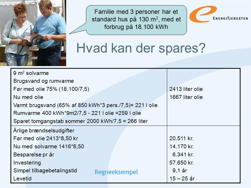 Familie med 3 personer har et standard hus på 130 m2, med et forbrug på 18.100 kWh