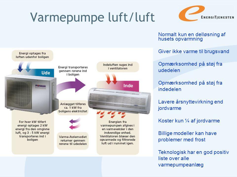 Varmepumpe luft/luft Normalt kun en delløsning af husets opvarmning