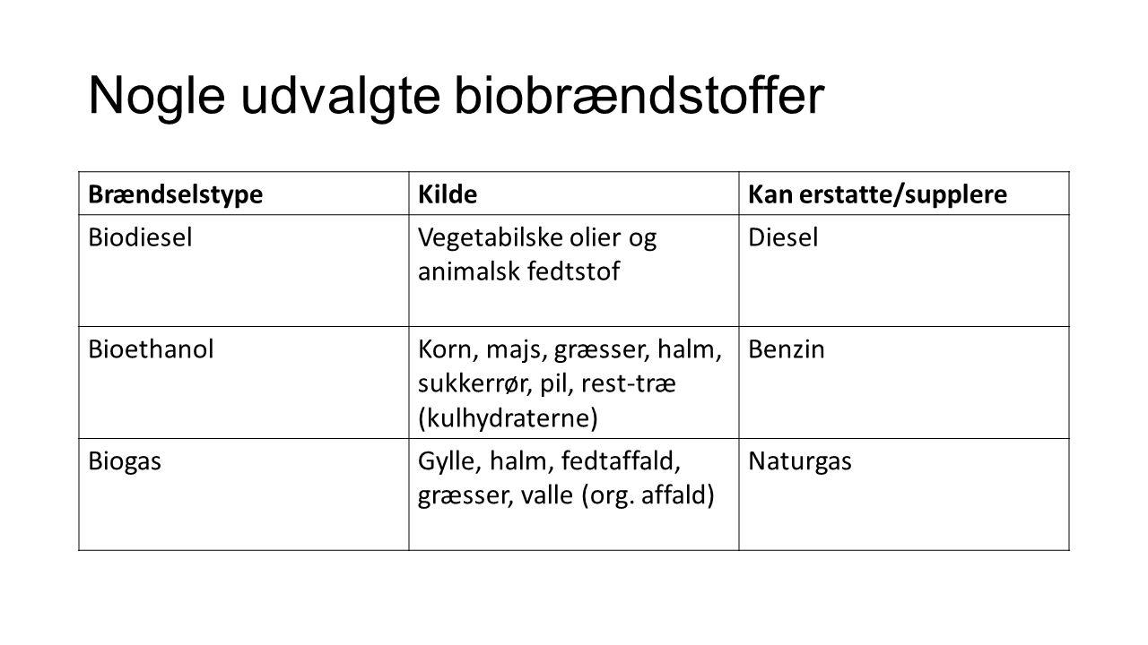 Nogle udvalgte biobrændstoffer