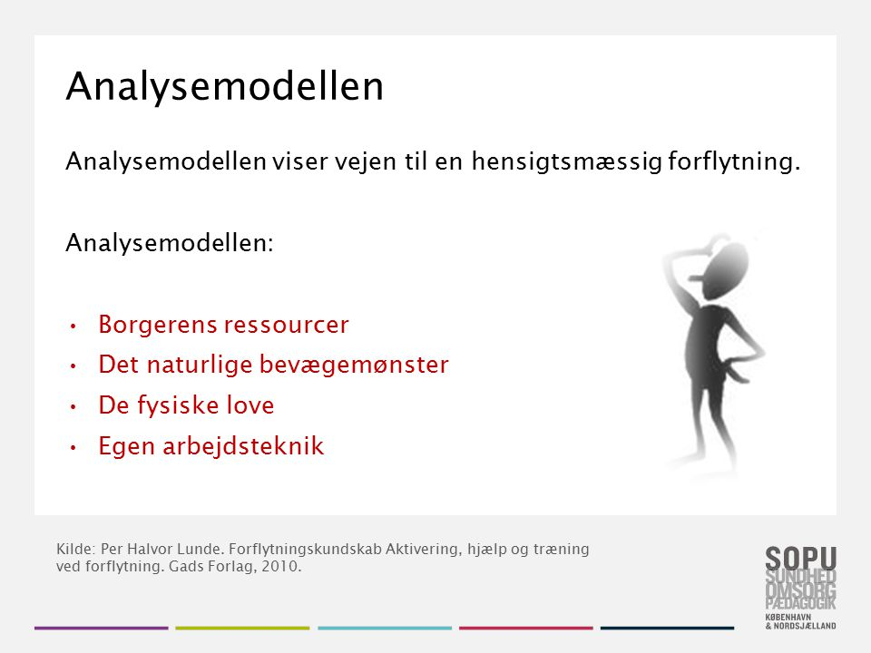 Analysemodellen Analysemodellen viser vejen til en hensigtsmæssig forflytning. Analysemodellen: Borgerens ressourcer.