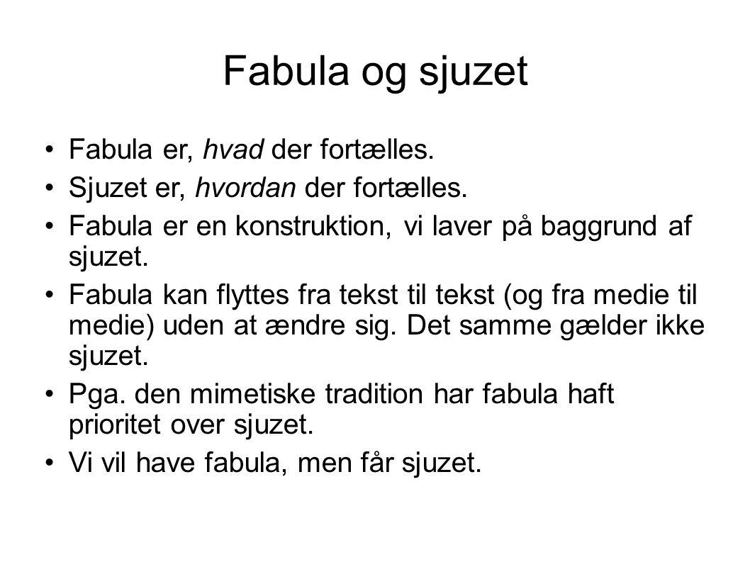 Fabula og sjuzet Fabula er, hvad der fortælles.