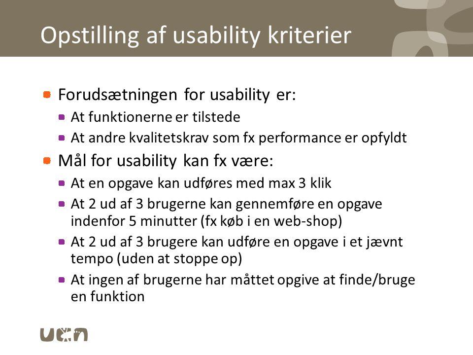 Opstilling af usability kriterier
