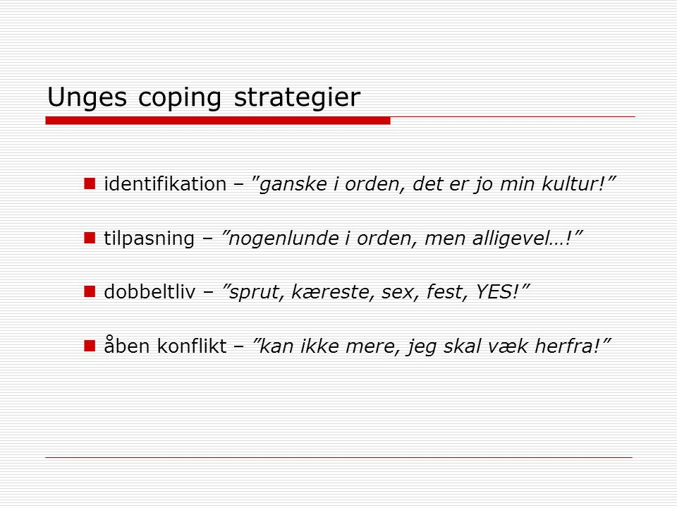 Unges coping strategier