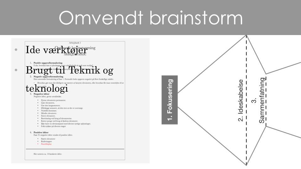 Omvendt brainstorm Ide værktøjer Brugt til Teknik og teknologi