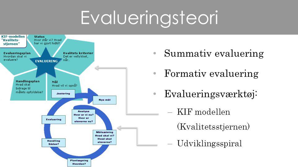 Evalueringsteori Summativ evaluering Formativ evaluering