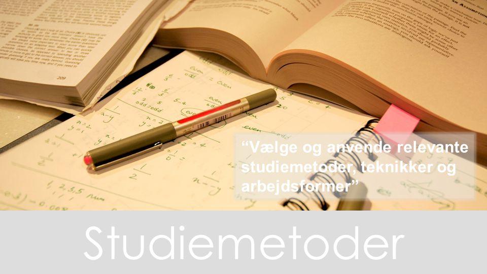 Vælge og anvende relevante studiemetoder, teknikker og arbejdsformer