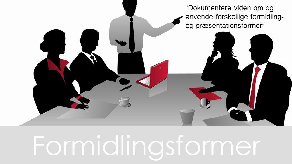 Dokumentere viden om og anvende forskellige formidling- og præsentationsformer