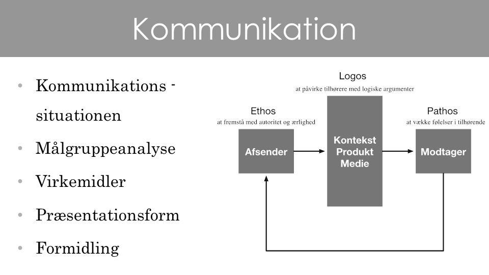 Kommunikation Kommunikations - situationen Målgruppeanalyse