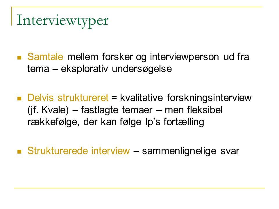 Interviewtyper Samtale mellem forsker og interviewperson ud fra tema – eksplorativ undersøgelse.