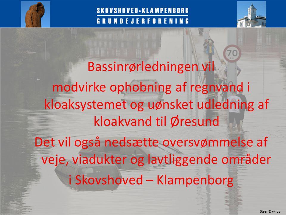 Bassinrørledningen vil modvirke ophobning af regnvand i kloaksystemet og uønsket udledning af kloakvand til Øresund Det vil også nedsætte oversvømmelse af veje, viadukter og lavtliggende områder i Skovshoved – Klampenborg