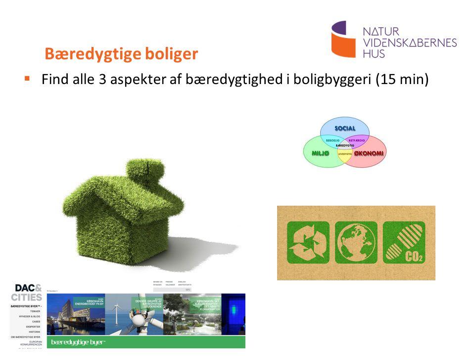 Bæredygtige boliger Find alle 3 aspekter af bæredygtighed i boligbyggeri (15 min) 15 min. Til læreren: