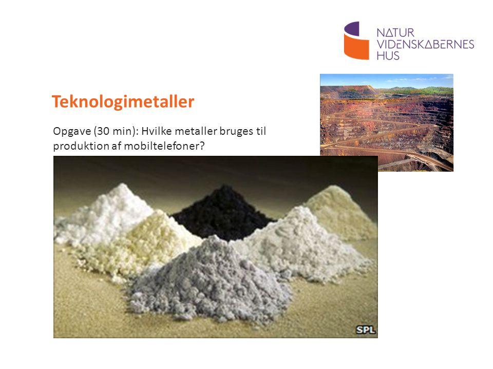 Teknologimetaller Opgave (30 min): Hvilke metaller bruges til produktion af mobiltelefoner 30 minutter.