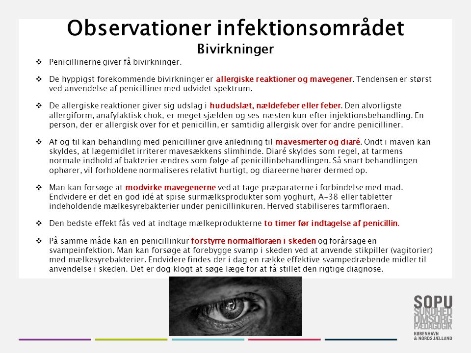 Observationer infektionsområdet Bivirkninger