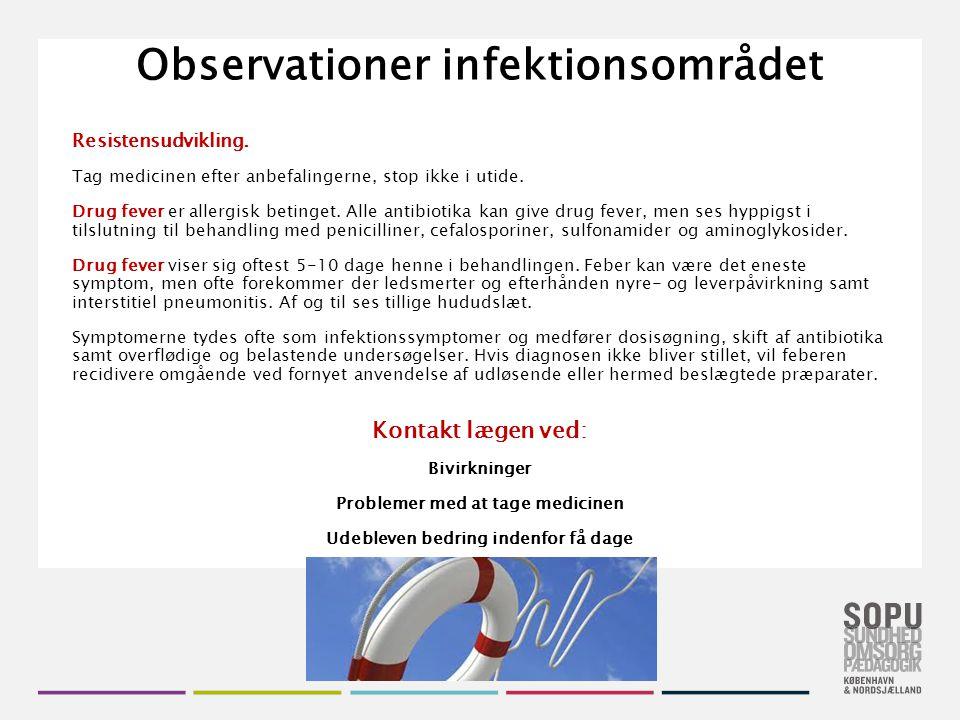 Observationer infektionsområdet