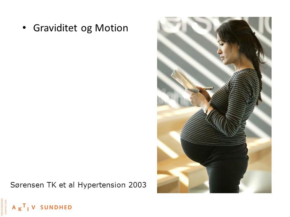 Graviditet og Motion Sørensen TK et al Hypertension 2003