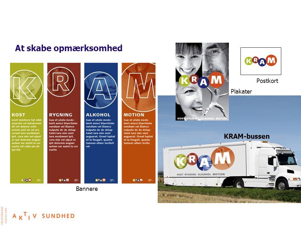 At skabe opmærksomhed Postkort Plakater KRAM-bussen Bannere