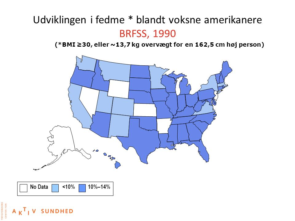 Udviklingen i fedme * blandt voksne amerikanere BRFSS, 1990