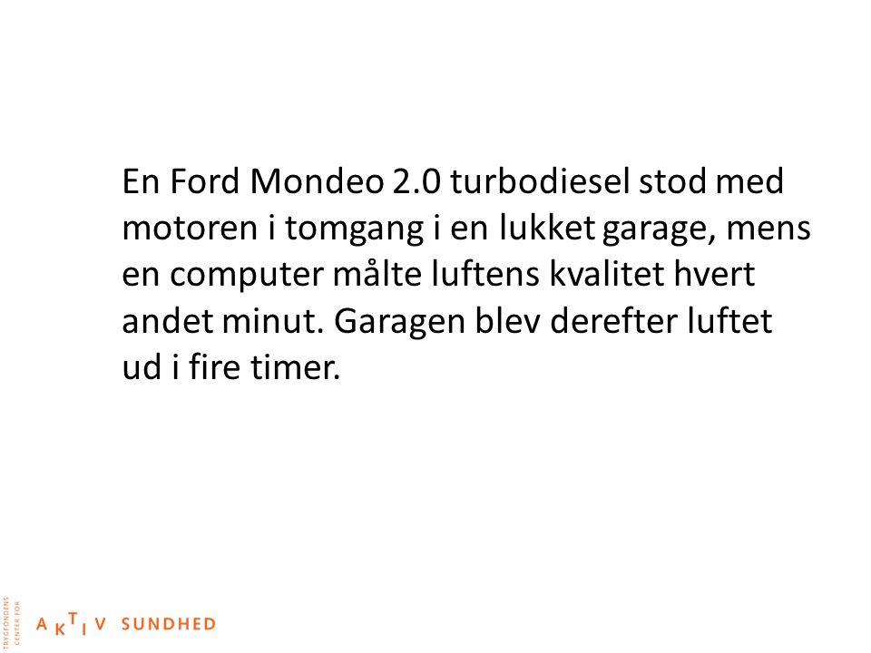En Ford Mondeo 2.0 turbodiesel stod med motoren i tomgang i en lukket garage, mens en computer målte luftens kvalitet hvert andet minut.