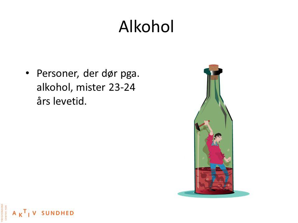Alkohol Personer, der dør pga. alkohol, mister 23-24 års levetid.