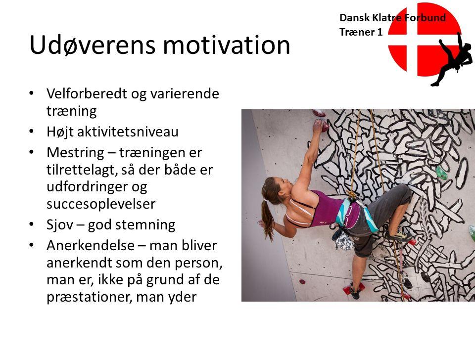 Udøverens motivation Velforberedt og varierende træning