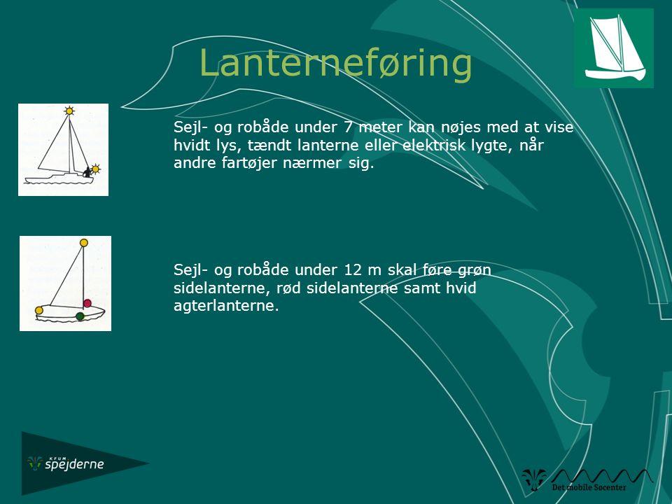 Lanterneføring Sejl- og robåde under 7 meter kan nøjes med at vise hvidt lys, tændt lanterne eller elektrisk lygte, når andre fartøjer nærmer sig.