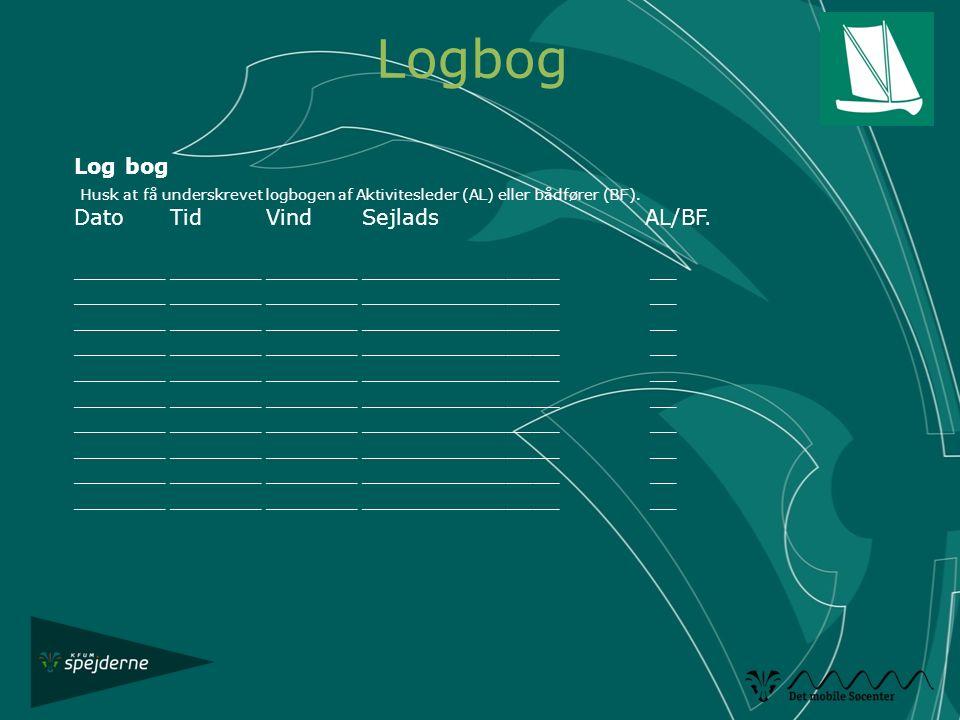 Logbog Log bog. Husk at få underskrevet logbogen af Aktivitesleder (AL) eller bådfører (BF). Dato Tid Vind Sejlads AL/BF.