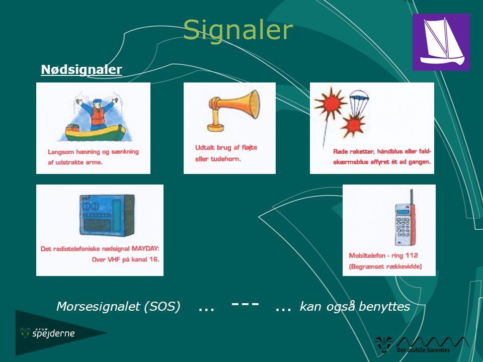 Signaler Nødsignaler Morsesignalet (SOS) … --- … kan også benyttes