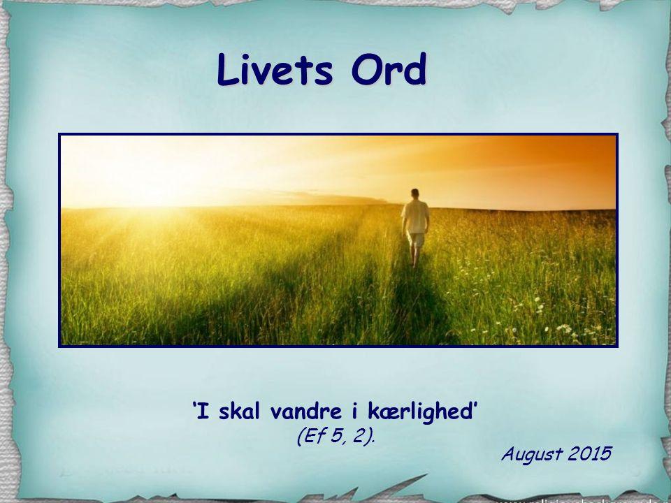 'I skal vandre i kærlighed' (Ef 5, 2).