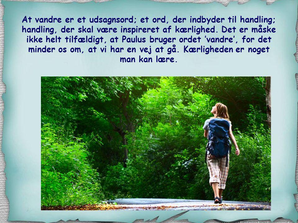 At vandre er et udsagnsord; et ord, der indbyder til handling; handling, der skal være inspireret af kærlighed.