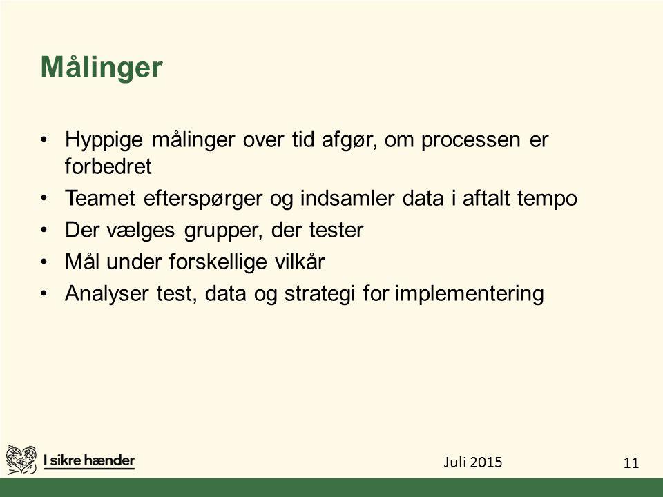 Målinger Hyppige målinger over tid afgør, om processen er forbedret
