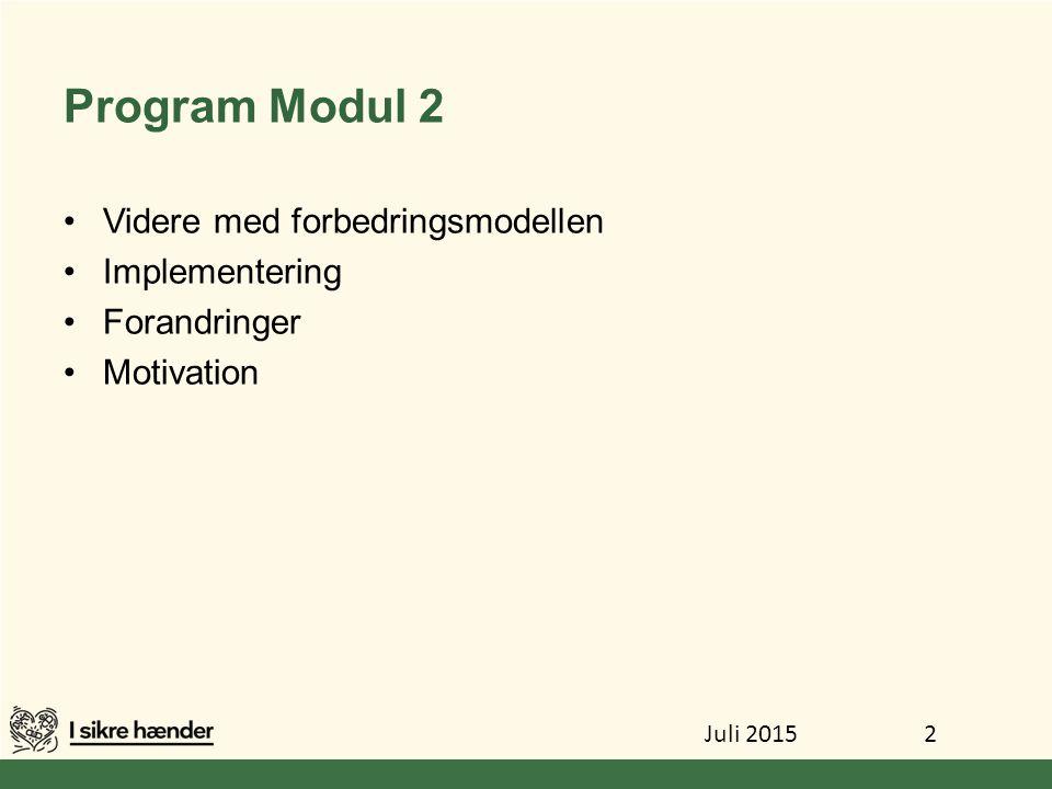 Program Modul 2 Videre med forbedringsmodellen Implementering