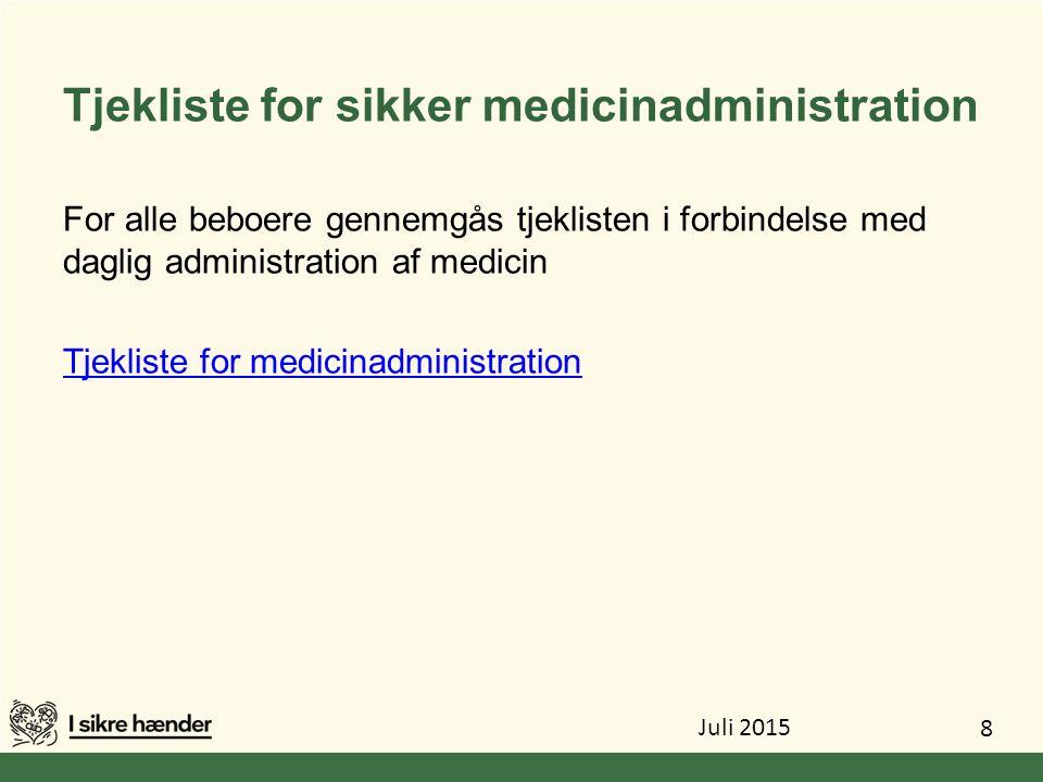 Tjekliste for sikker medicinadministration