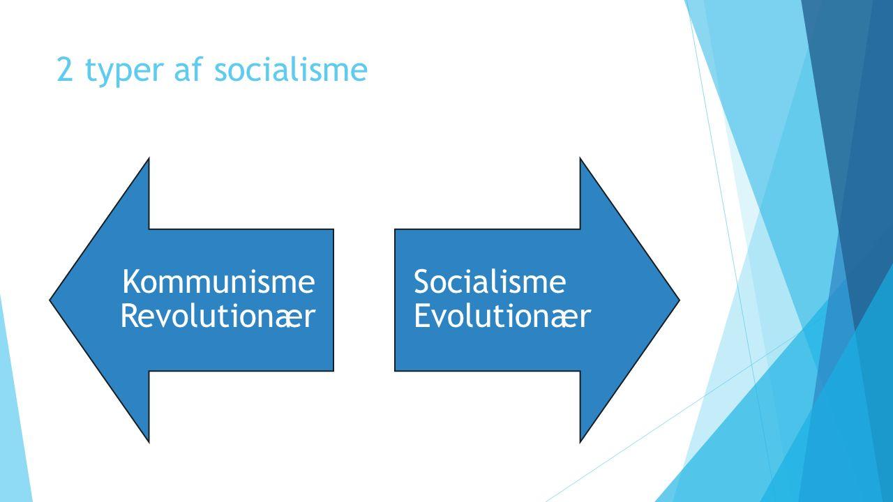 2 typer af socialisme Kommunisme Revolutionær Socialisme Evolutionær