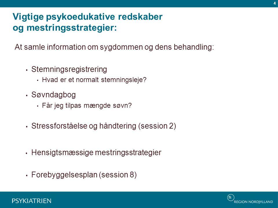 Vigtige psykoedukative redskaber og mestringsstrategier: