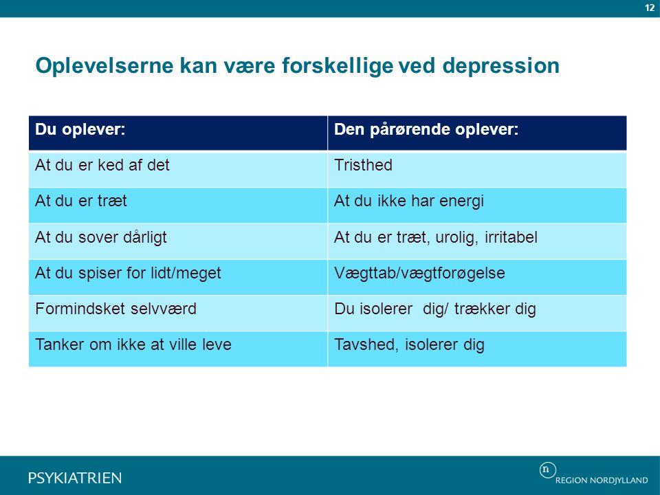 Oplevelserne kan være forskellige ved depression